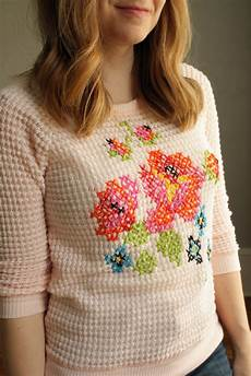 220 ber chic for cheap diy floral cross stitch sweater