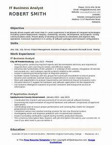 Business Resume Objective It Business Analyst Resume Samples Qwikresume