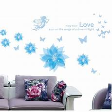 blue flowers c removable wall sticker mural home