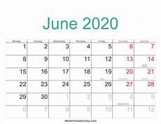 June 2020 Calendar June 2020 Calendar Printable With Holidays