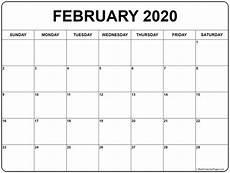 Calendars January 2020 February 2020 February 2020 Calendar Free Printable Monthly Calendars
