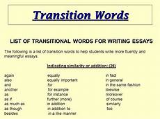 Essay Words To Use Essay Transition Words Guidelines For Writing A