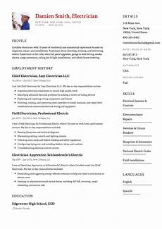 Resume Of Electrical Technician 12x Free Electrician Resume Template