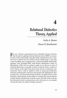 Relational Dialectics Pdf Relational Dialectics Theory Applied