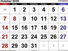 October Calendar October 2018 Calendar Templates For Word Excel And Pdf