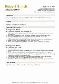 Mining Resume Sample Underground Miner Resume Samples Qwikresume