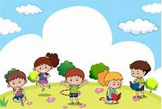 Scene With Many Kids Doing Different Activities Vector