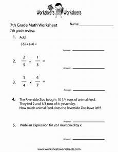 7th Grade Math Worksheets Algebra Seventh Grade Math Practice Worksheet Free Printable