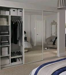 set of 3 white sliding mirrored doors from howdens in