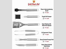 Stainless Steel BBQ Grill Accessories: 12 Piece Utensil