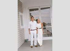 Bride and groom both wear casual white for the rehearsal