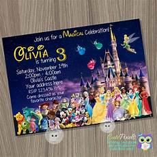 Disney Themed Party Invitations Disney Castle Invitation Disney Characters Invitation