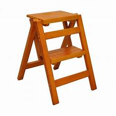 household multi function folding ladder stool solid wood