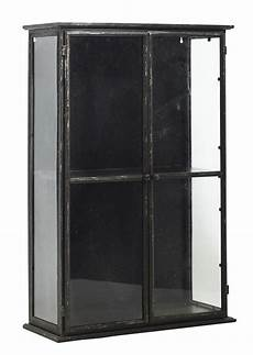 large black glazed metal wall cabinet with glass