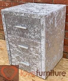 sterling bedside 3 drawer crushed velvet silver