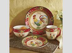 16 Piece Sunflower Rooster Dinnerware Set from Seventh