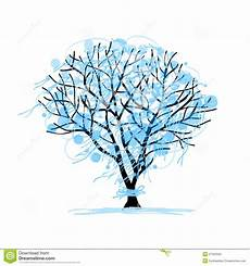 Blue Tree Design Winter Tree Sketch For Your Design Stock Vector Image