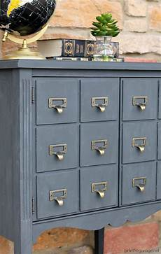 upcycled record cabinet to faux card catalog in the