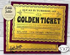 Golden Ticket Invitation Golden Ticket Chocolate Factory Birthday Party Invitation