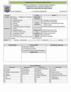 Formato Para Planear Una Clase Formato De Planeaci 243 N Por Competencias By Secundaria