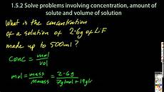 Chemistry Concentration Problems 1 3 Solve Problems Using Concentration Amount Of Solute