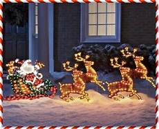 Lighted Santa Sleigh And Reindeer Outdoor 7 Lighted Santa Reindeer Sleigh Christmas Holiday Outdoor