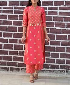 orange silk woven handwork kurta set in 2020 silk kurti