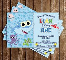 Baby Birthday Party Invitation Novel Concept Designs Baby Shark Blue Birthday Party