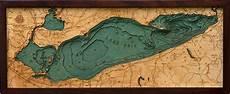 Lesser Lake Depth Chart Lake Erie Bathymetric Wood Chart Lake Erie Lake Art