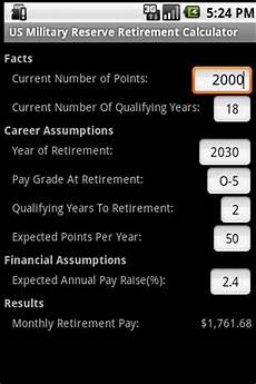 Navy Reserve Retirement Chart Retirement Calculator Military Reserve Retirement