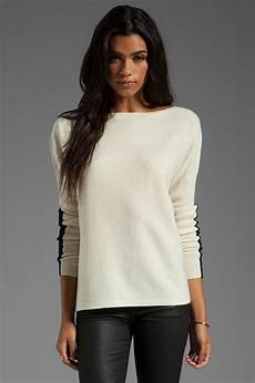 sleeve sweater for sweater lyst sleeve colorblock sweater with ribbed