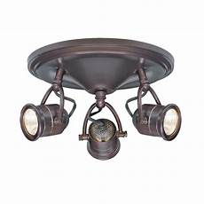 Led Ceiling Track Light Fixtures 3 Light Track Lighting Antique Bronze Round Base Pinhole