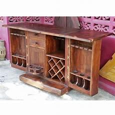 northern thai recycled teak folding bar cabinet on wheels