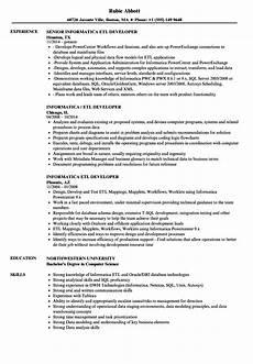 Etl Testing Resume Informatica Etl Developer Resume Samples Velvet Jobs
