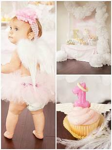 Angles Theme Kara S Party Ideas Little Angel 1st Birthday Party Via