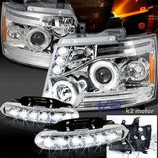 Led Lights For Avalanche 07 10 Chevy Avalanche Halo Led Chrome Projector Headlights