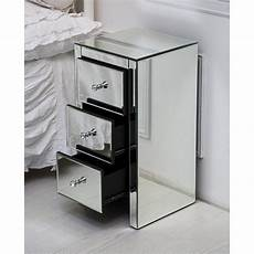 mirrored glass bedside table cabinet with 3 drawers
