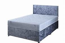 4ft6 silver crushed velvet divan bed set including