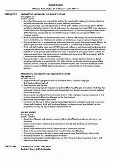 Disney Resume Disney Store Resume Samples Velvet Jobs
