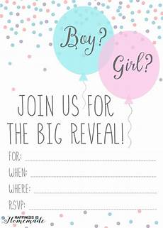 Free Printable Gender Reveal Invitations Baby Gender Reveal Party Ideas Happiness Is Homemade