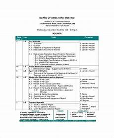 Board Agenda Template Board Of Directors Meeting Agenda Template 8 Free Word