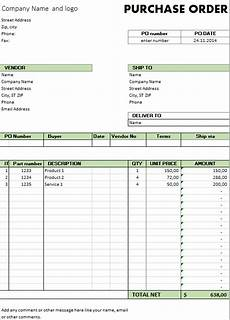Po Templates Excel Template Free Purchase Order Template For