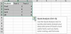 Quick Analysis Tool Excel Excel Quick Analysis Button Microsoft Community