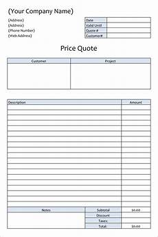 Free Excel Quote Template 23 Free Templates For Price Estimations Service Bids And