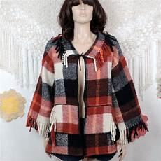 60 s plaid fringe jacket 1970 s joseph magnin bell sleeve