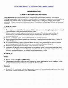 Customer Service Requirements Customer Service Representative Job Description