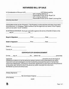 Bill Of Sale With Notary Free Notarized Bill Of Sale Form Word Pdf Eforms