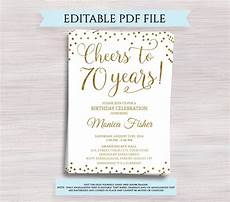 Printable Anniversary Party Invitations Editable 70th Birthday Party Invitation Template Cheers To