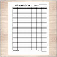 Babysitter Sign Up Printable Babysitter Expense Sheet Monthly Babysitter Or