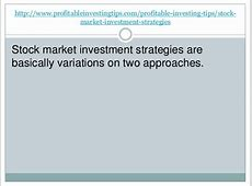 Stock Market Investment Strategies